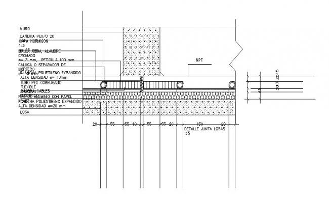 Constructive section and wall details dwg file