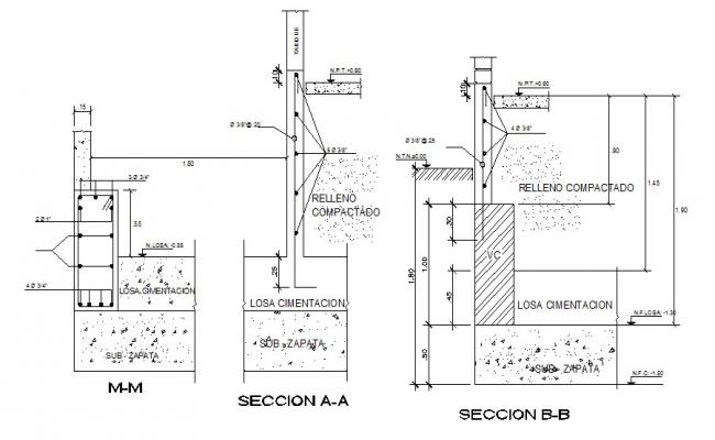 Constructive section details with footings cad drawing details dwg file