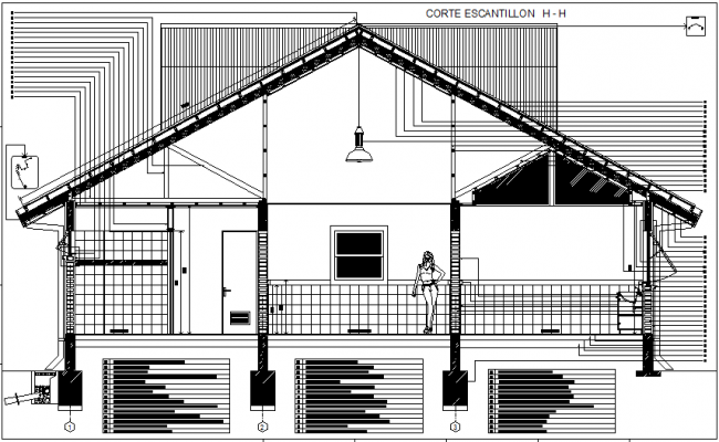 Constructive section housing detail dwg file