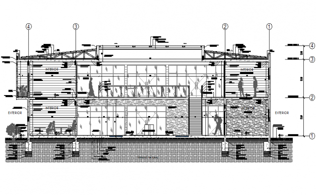 Constructive section therapeutic center detail dwg file