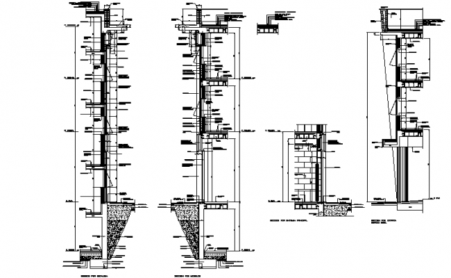 Constructive sections facades with panels detail dwg file