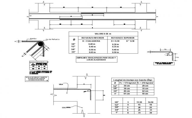 Constructive structure details of beam of house cad drawing details dwg file