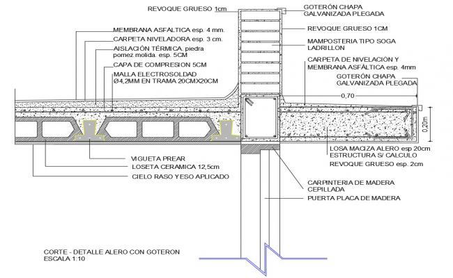 Constructive structure details of eave wall with goteron dwg file