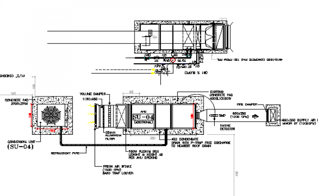 Constructive water tank details of residential housing building dwg file