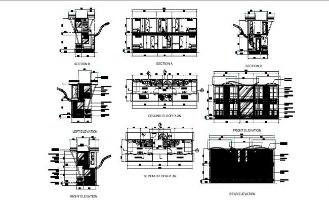 Container drawing with different section and elevation in dwg file