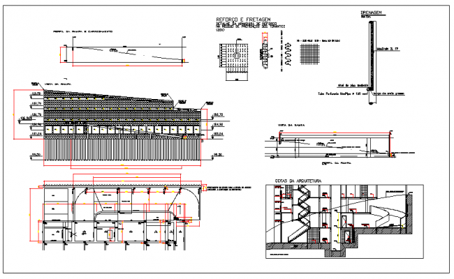 Elevation Plan Description : Containment ramp plan elevation and section view detail