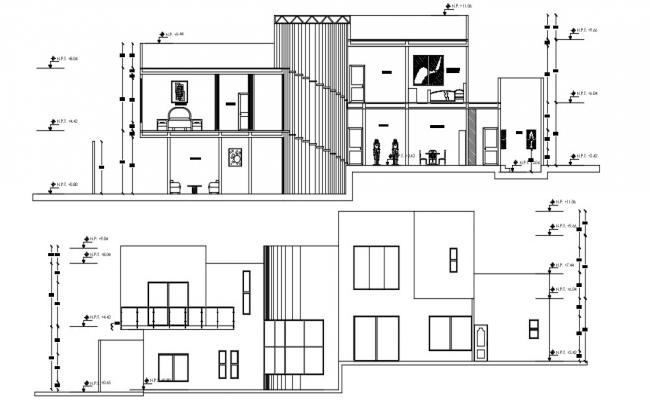 Contemporary Bungalow Elevation,Section AutoCAD Drawing File Free