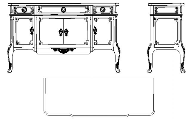 Continental long cabinet cad blocks