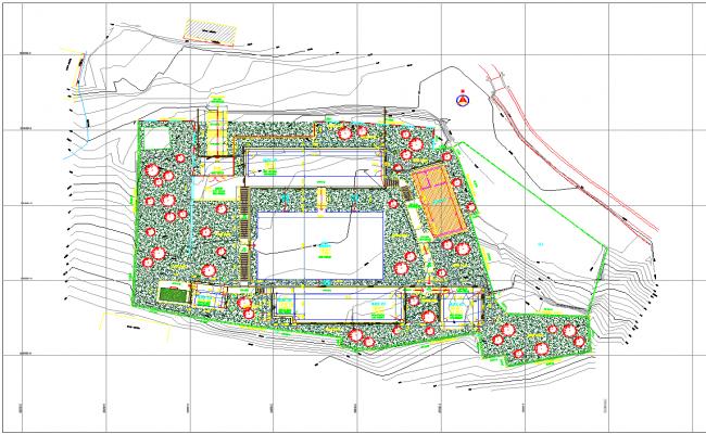 Contour layout plan detail dwg file