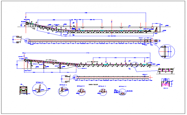 Conveyor belt detail view dwg file