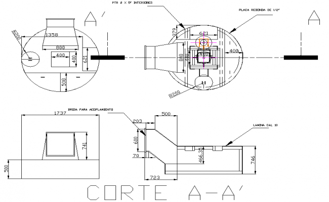 Cooker gas extraction section plan detail dwg file