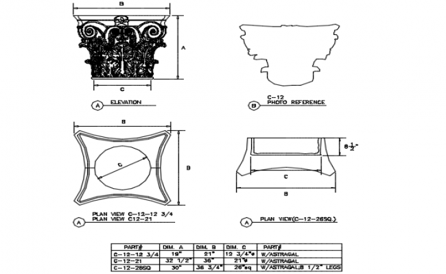 Corinthian capitals plan detail dwg file