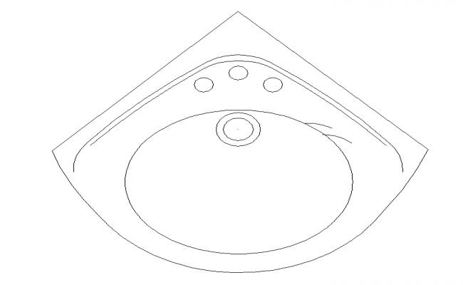 Corner shape design bathroom sink detail