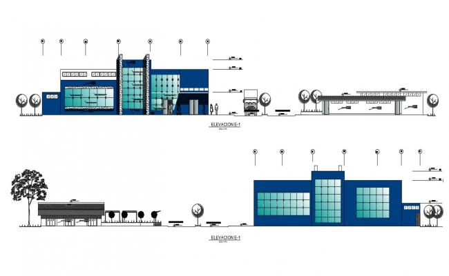 Corporate Building Elevation DWG File