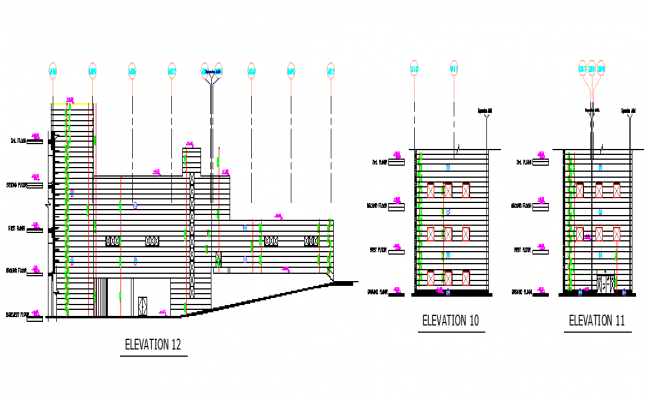 Corporate Building Plan and Elevation dwg file.