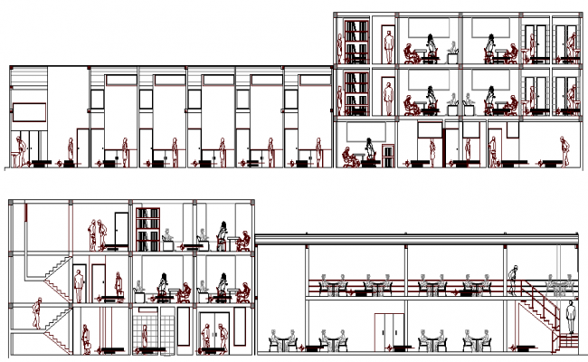 Corporate Office Building Elevation dwg file
