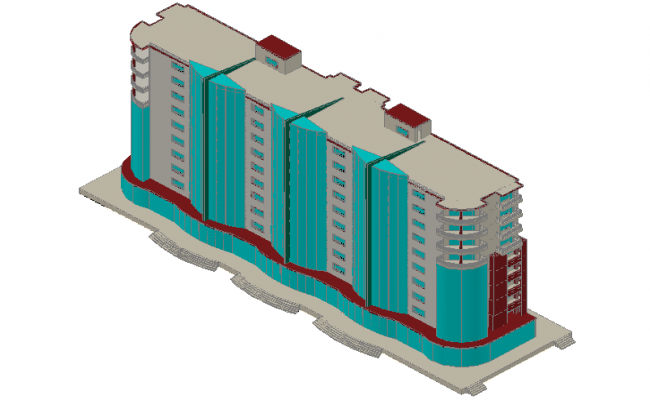 Corporate building 3d view dwg file