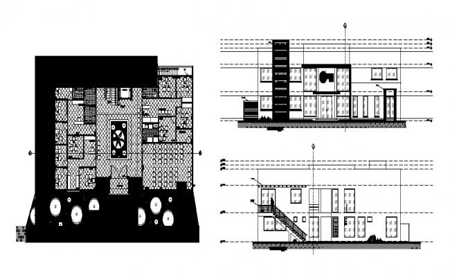Corporate building elevation, section, plan and floor plan cad drawing details dwg file