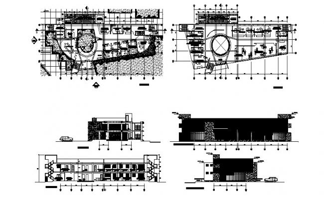 Corporate building elevation, section and floor plan cad drawing details dwg file