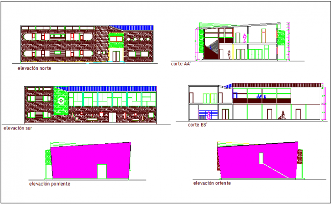 Corporate building elevation and different axis section view dwg file