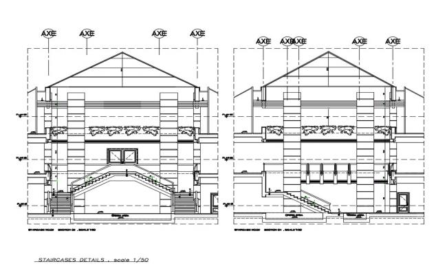 Corporate building facade and back section cad drawing details dwg file