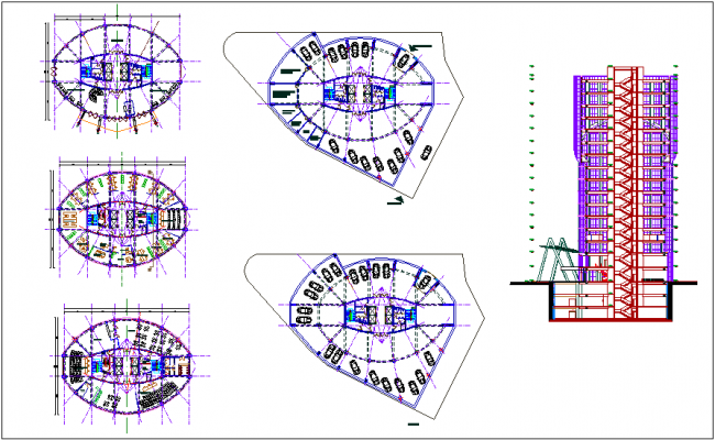 Corporate building plan and elevation dwg file