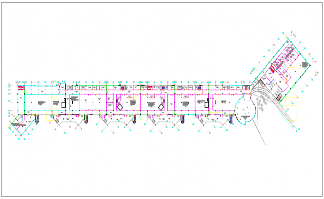 Corporate building plan layout view dwg file