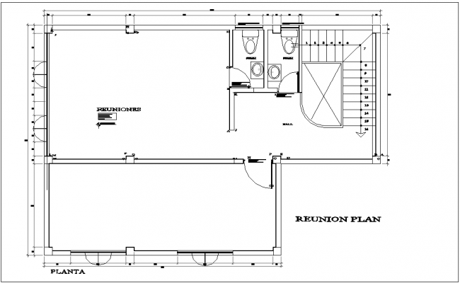 Corporate building reunion plan with architectural view dwg file