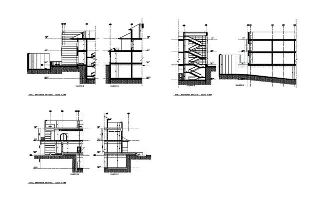 Corporate building wall section and constructive sectional details dwg file