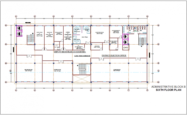 Corporate building with administration plan of sixth floor plan for block B dwg file