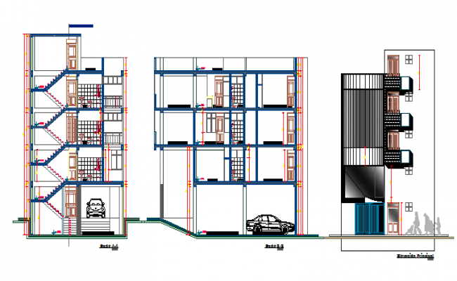 Corporate office apartment building elevation & section details dwg file