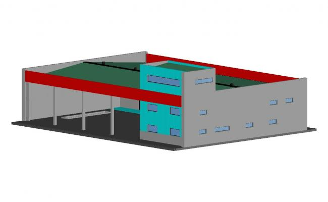 Corporate office building 3d elevation cad drawing details dwg file