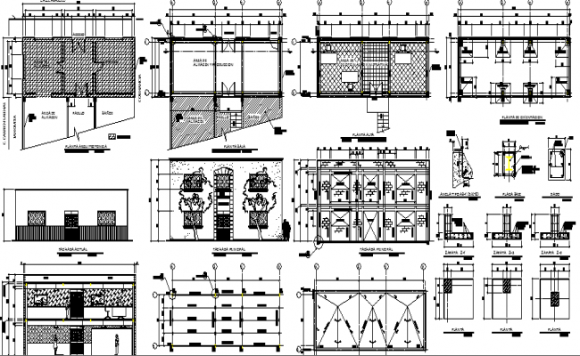 Corporate office building architecture project dwg file
