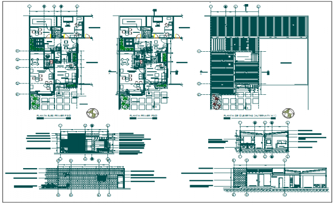 Corporate office building elevation section and plan view detail dwg file