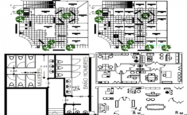 Corporate office building landscaping, layout and sanitary facilities dwg file