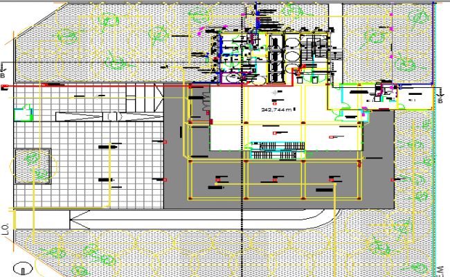 Corporate office building landscaping and structure details dwg file