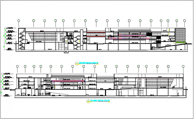 Corporate office building office section plan with section thru A and B dwg file