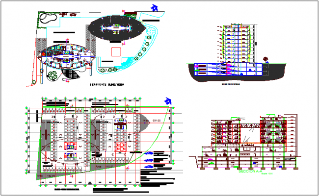 Corporate office building plan,elevation and sectional view dwg file