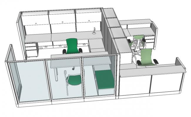 Corporate office cabin 3d drawing details with furniture skp file