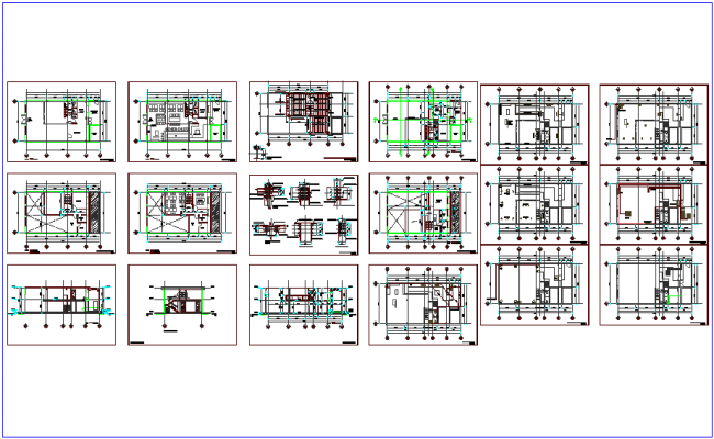Corporate office plan and section view with architecture,structural and water line view dwg file
