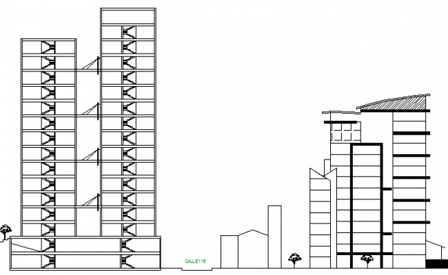 Corporate office tower elevation and section details dwg file