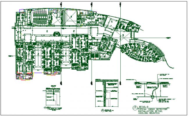 Corporate structure auditorium building plan detail dwg file