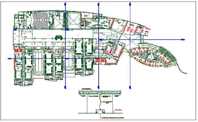 Corporate structure auditorium building plan detail dwg file