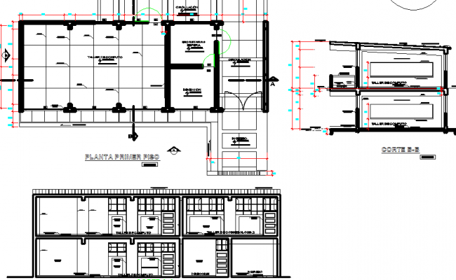 Cosmetology workshop elevation and layout plan dwg file
