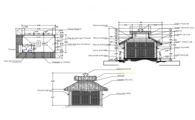 Cottage house facade and back elevation and auto-cad details dwg file