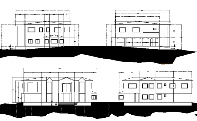 Cottage plan and elevation detail dwg file