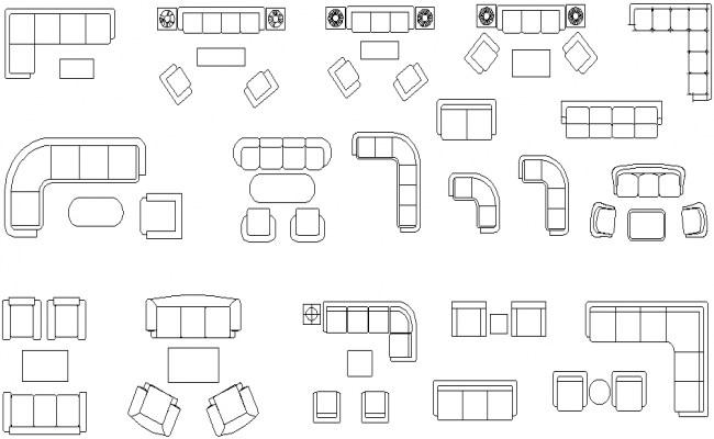 Couches And Sofas In Plan Detail Dwg File
