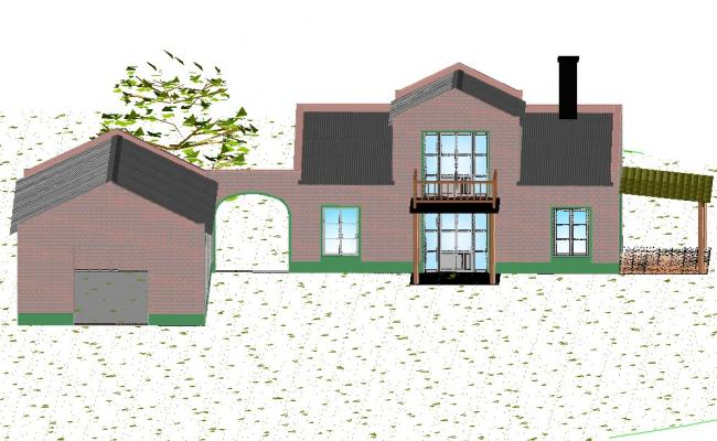 Country house 3 d plan detail dwg file