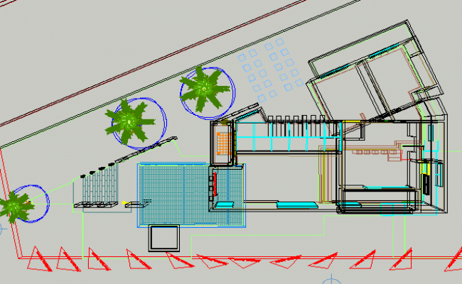 Country house in 3 d plan detail dwg file