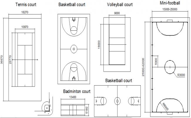 Court Design In DWG File